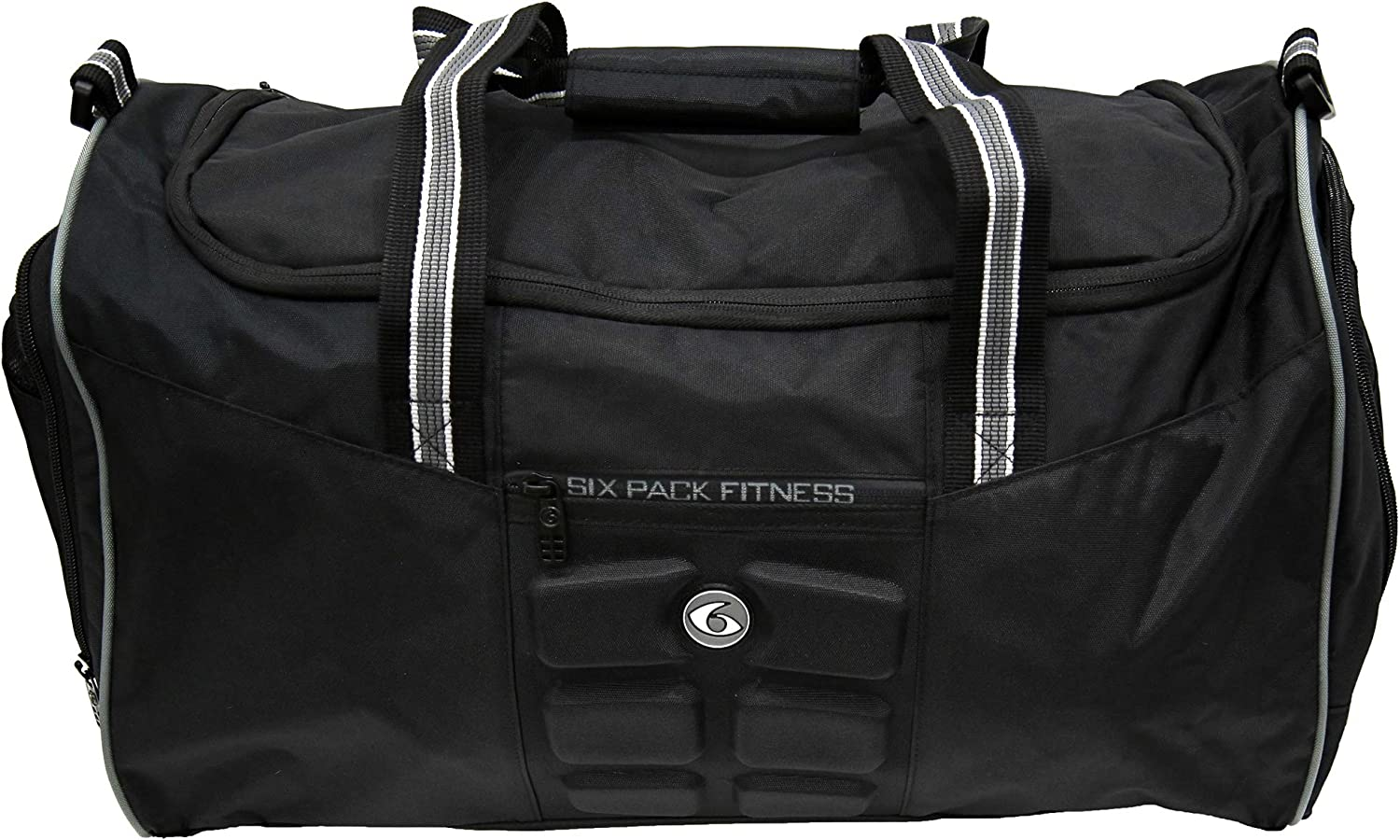 6 Pack Fitness Expert Meal Prep Management Beast Duffle W/ 3 - Meal Removable Core Stealth (Black/Black)