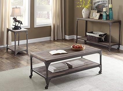 Acme Furniture 81445 Gorden Coffee Table, Weathered Oak & Antique Silver - Amazon.com: Acme Furniture 81445 Gorden Coffee Table, Weathered Oak