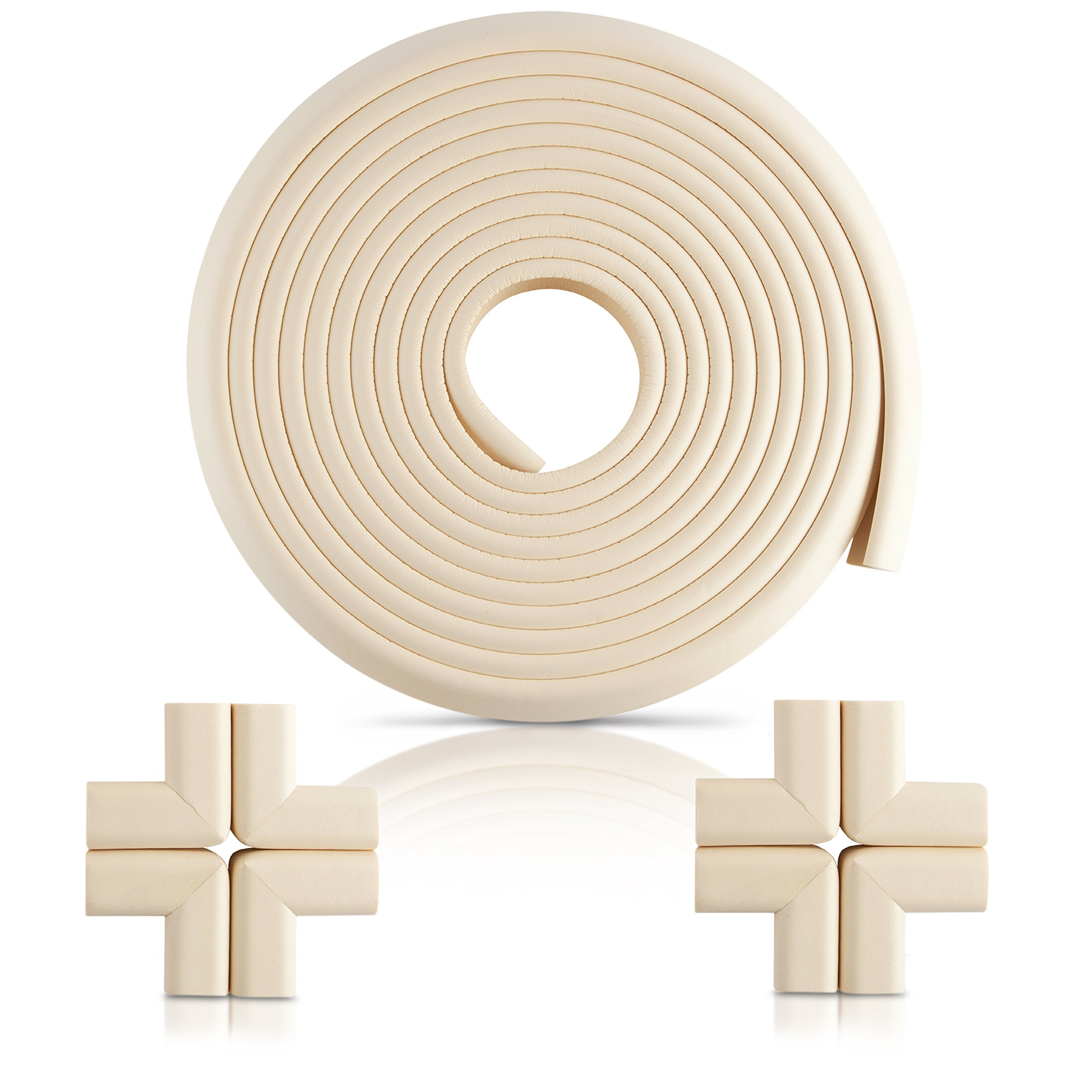 Furniture Edge and Corner Guards | 20.4ft Protective Foam Cushion | 18ft Bumper 8 Adhesive Childsafe Corners | Baby Child Proofing Set NonToxic and Safe for Table, Fireplace, Countertop | White