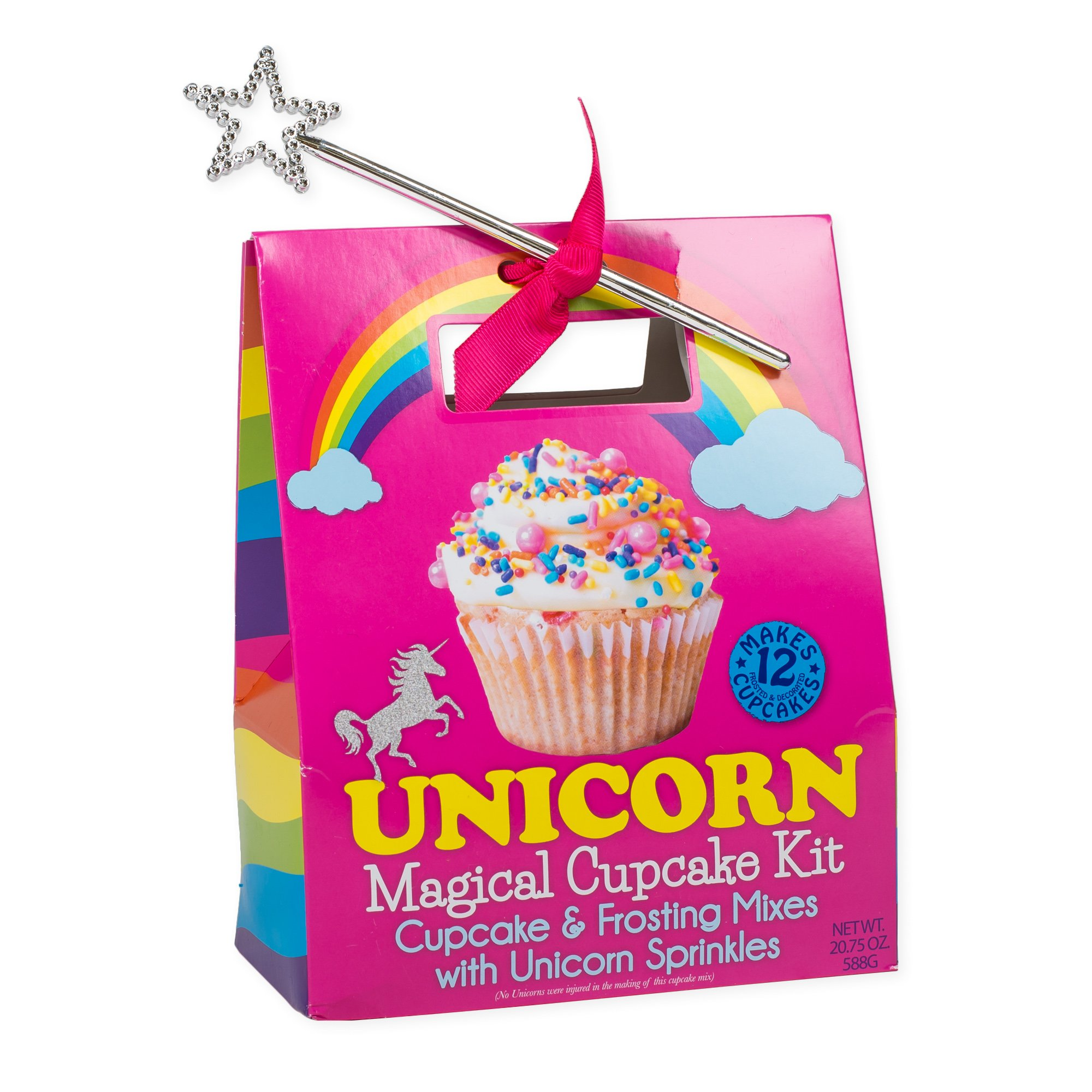 Unicorn Magical Cupcake Mix and Sprinkles with Star Wand Carry Out Box Set by Pelican Bay