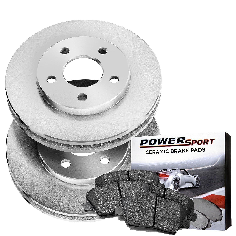 Power Sport Plain Replacement Brake Rotors and Ceramic Brake Pads Kit FRONTS 80140