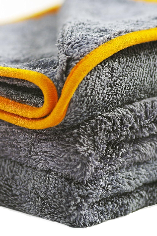 40 x 40 cm 443TPO anthrazit mit oranger Kante Glart Premium Flausch 3er Set aus ultraweichen Microfasern