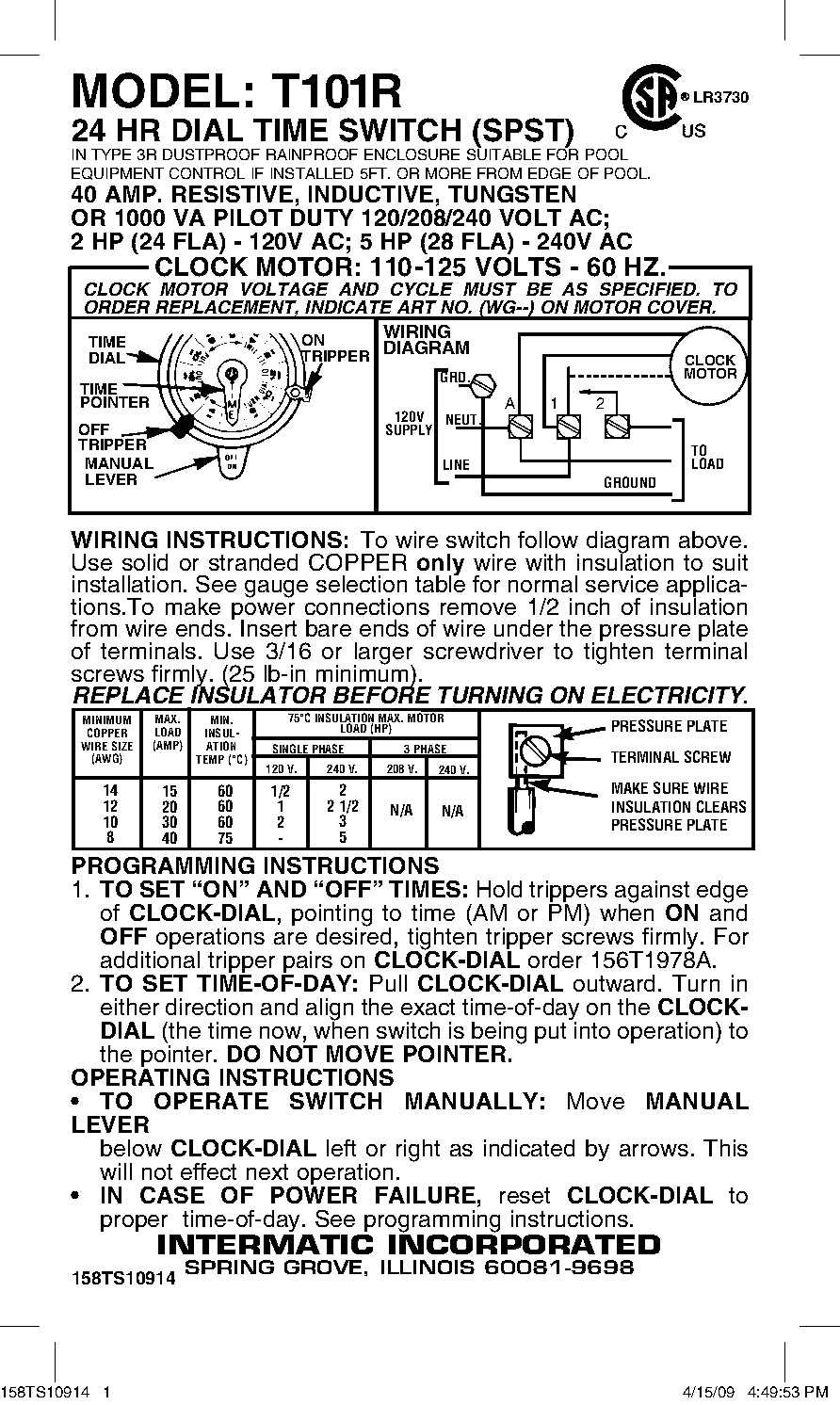 Intermatic T101r Switch Timer Mech 1p 40a 125v Wall Switches Wiring Diagram T102