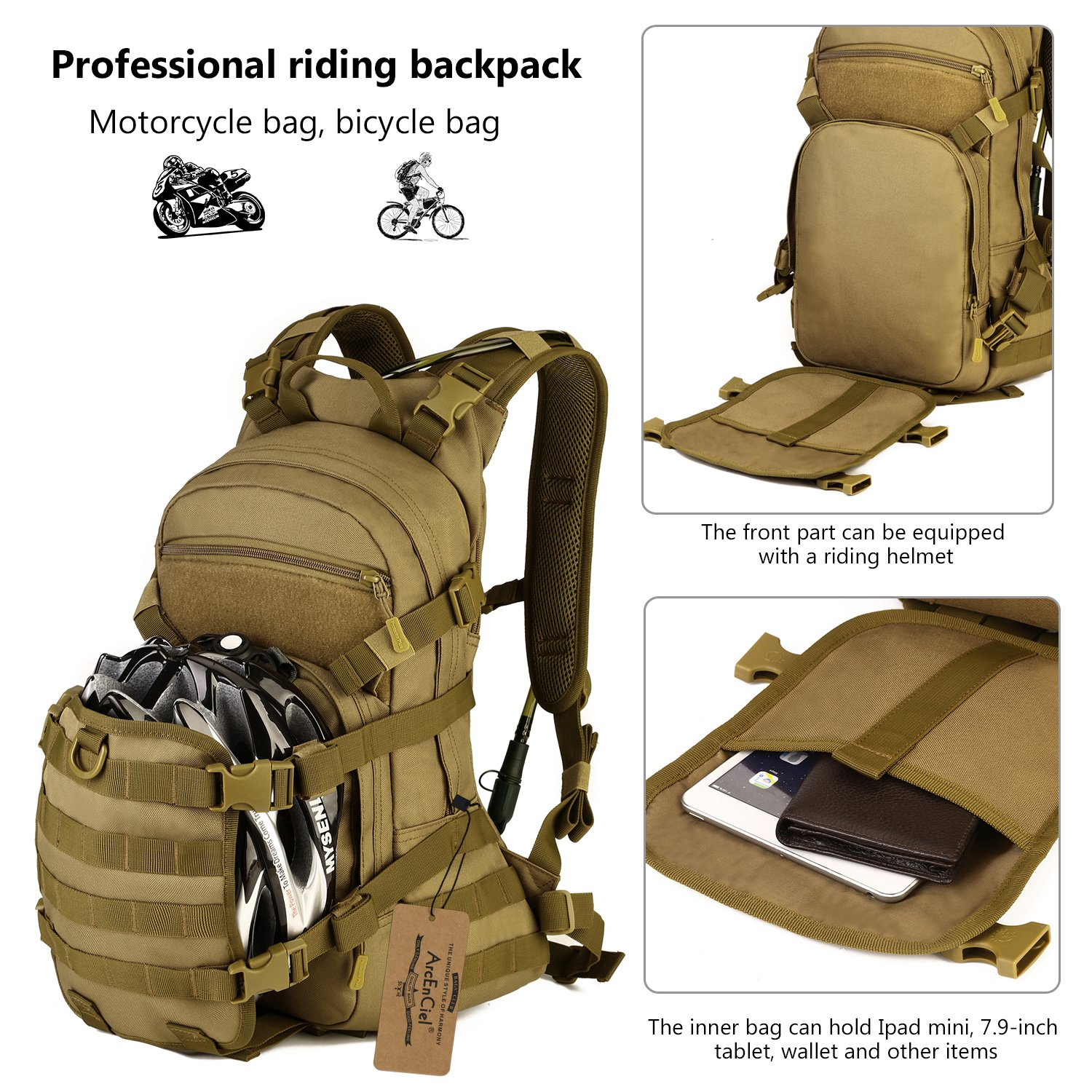 Amazon Com Arcenciel 25l Tactical Motorcycle Cycling Backpack Military Molle Pack Helmet Holder With Patch Rain Cover Included Coyote Brown Sports