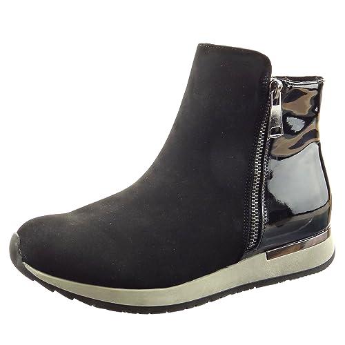 Sopily - Zapatillas de Moda Botines A Medio Muslo Mujer Brillantes Cremallera Talón Plataforma 3 CM - Negro FRF-4-F522 T 41: Amazon.es: Zapatos y ...