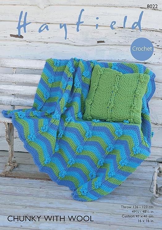 Sirdar 8022 Crochet patrón manta y cojín en Hayfield Chunky ...
