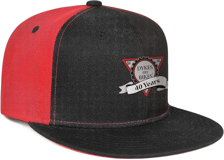 Unisex Mesh Snapback Cap Dykes /¡n Bikes Rainbow Black Flat Bill Hip Hop Baseball Hat