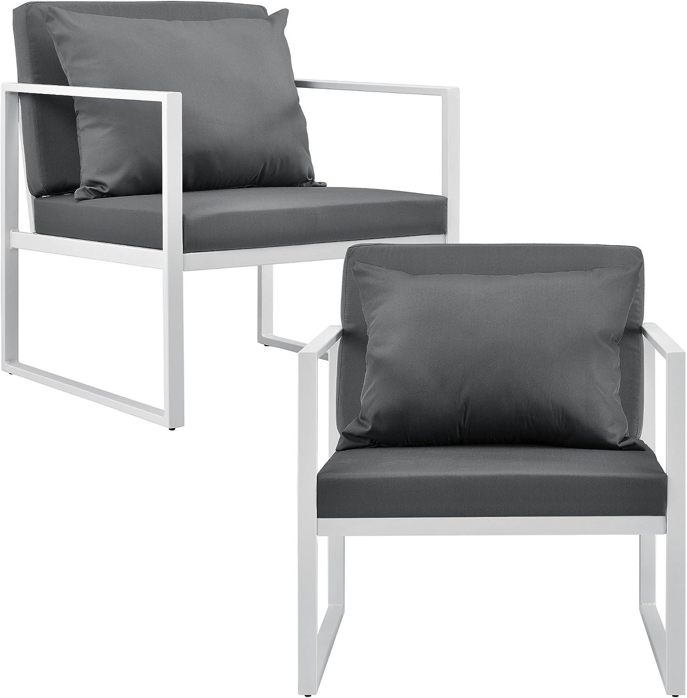 [casa.pro]® 2 x sillón silla de jardín 70 x 60 x 60 cm set de 2 mueble de jardín para exterior blanco