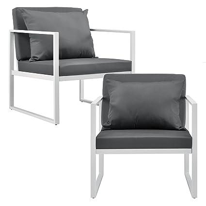 casa.pro]® 2 x sillón silla de jardín 70 x 60 x 60 cm set de ...