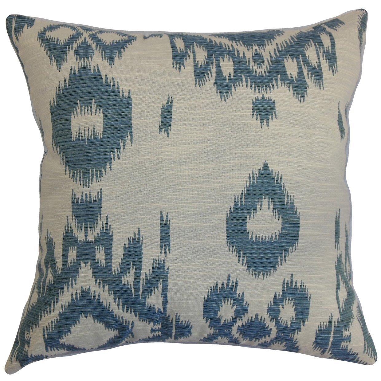 18 x 18 18 x 18 The Pillow Collection P18FLAT-D-71024-DENIM-C100 Gaera Ikat Throw Pillow Cover