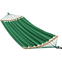 ELC Hammock Cotton Fabric Hammock Double Hammock with Bamboo Spreader Bars, Perfect for Garden Outdoor Patio Yard