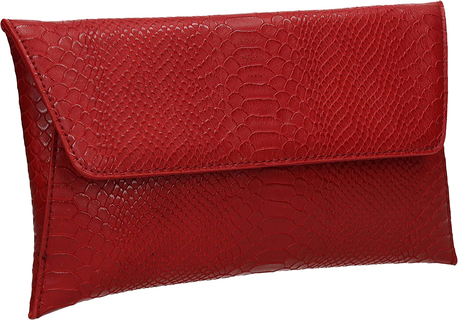 SWANKYSWANS Remi Faux Leather Slim Snakeskin Effect Womens Party Prom Evening Clutch Bag