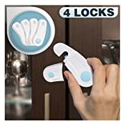 Cabinet Locks Child Safety - Pack of 4 Baby Proofing Safety Locks - Child Proof Cabinet Locks - Baby Proof Refrigerator Lock - Baby Proofing Kit - Baby Safety Products Kit with 3M Adhesive Tape