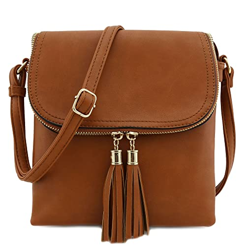 Flap Top Double Compartment Crossbody Bag With Tassel Accent by Isabelle
