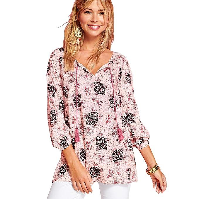 d7bd8ea7a1b VENCA Camisa de Viscosa Estampada con Cordones Mujer by Vencastyle -  022703  Amazon.es  Ropa y accesorios