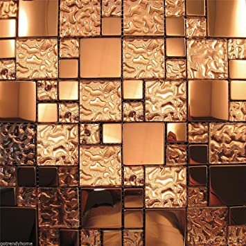 Amazoncom Copper Metal Pattern Textured Glass Mosaic Tile Kitchen