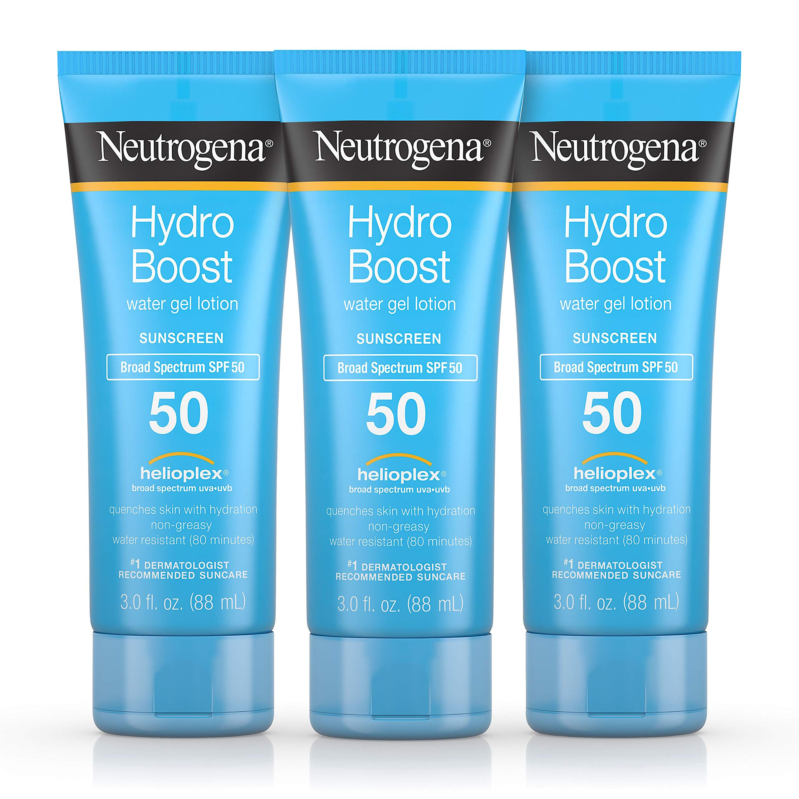 Neutrogena Hydro Boost Water Gel Non-Greasy Moisturizing Sunscreen Lotion with Broad Spectrum SPF 50, Water-Resistant, 3 fl. Oz (Pack of 3) by Neutrogena
