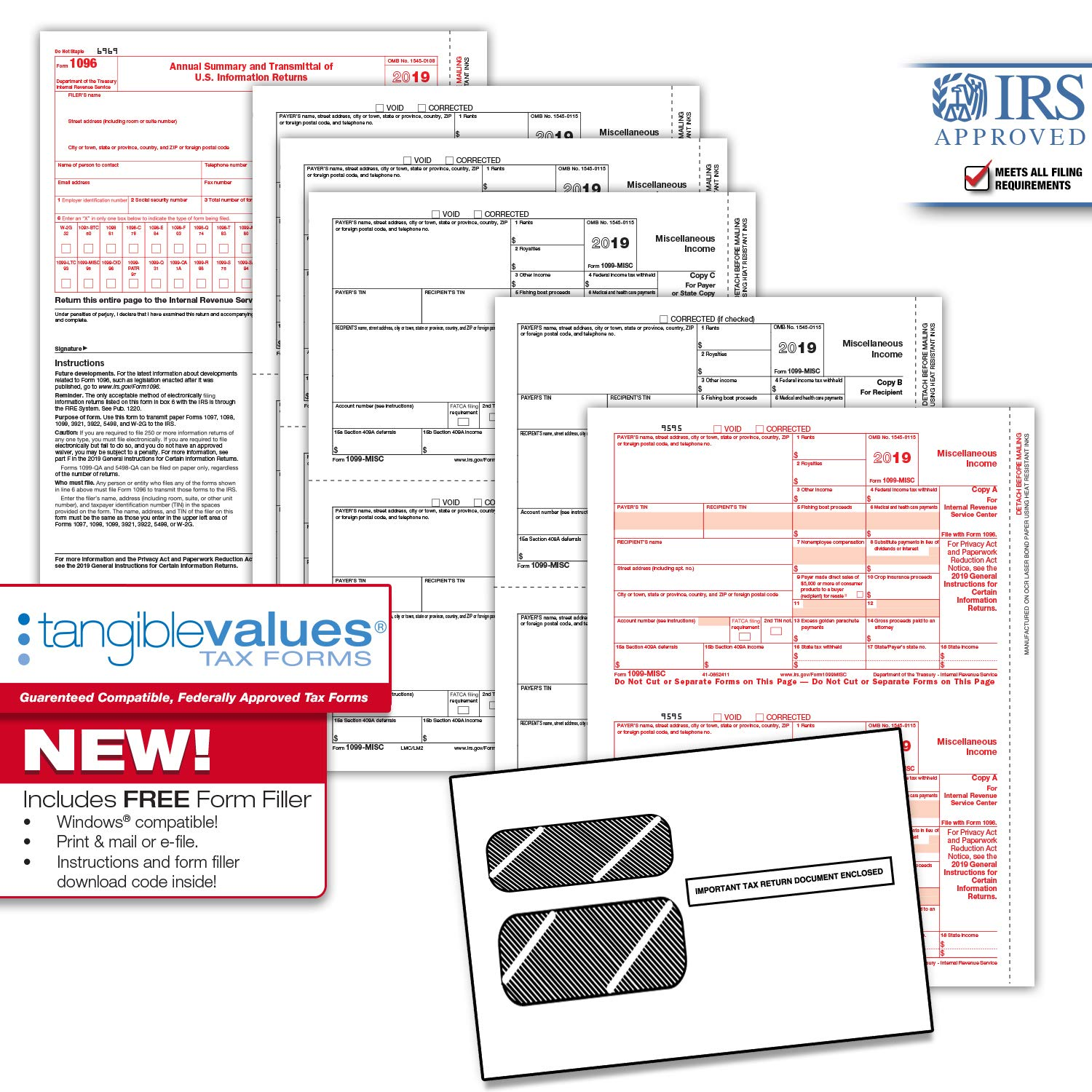 Tangible Values 1099 Misc Tax Forms (5-Part) Kit with Envelopes Plus Online Form Filler for 12 Individuals/Suppliers (2019) by Tangible Values Business Solutions