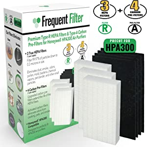 Frequent Filter HPA300 Compatible True HEPA Filter Set | 3 Pack + 4 Precut Activated Carbon/Charcoal Pre-Filters. Compatible Replacement for Type R & PreFilter A, HRF-R3, HRF-R2, HRF-R1, HRF-AP1