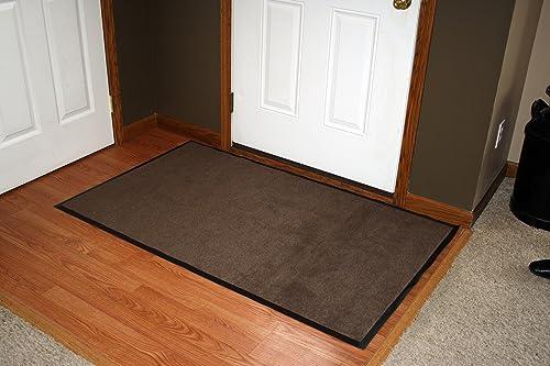 Durable Wipe-N-Walk Vinyl Backed Indoor Carpet Entrance Mat, 4 x 8 , Brown