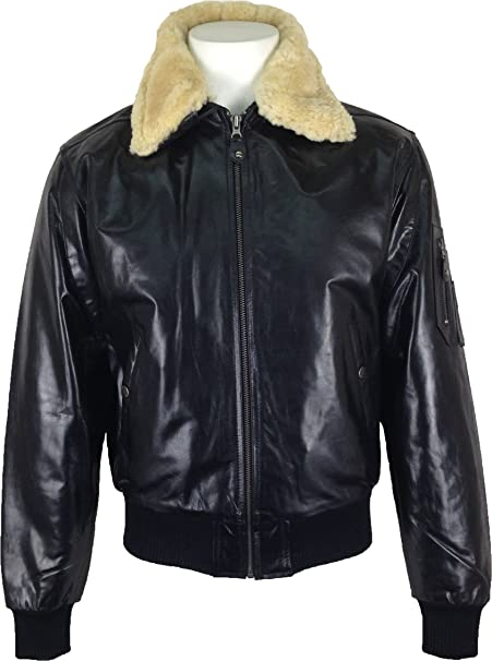 UNICORN Mens Airforce Aviator Pilot Real Leather Jacket Black (Real fur collar) #P1