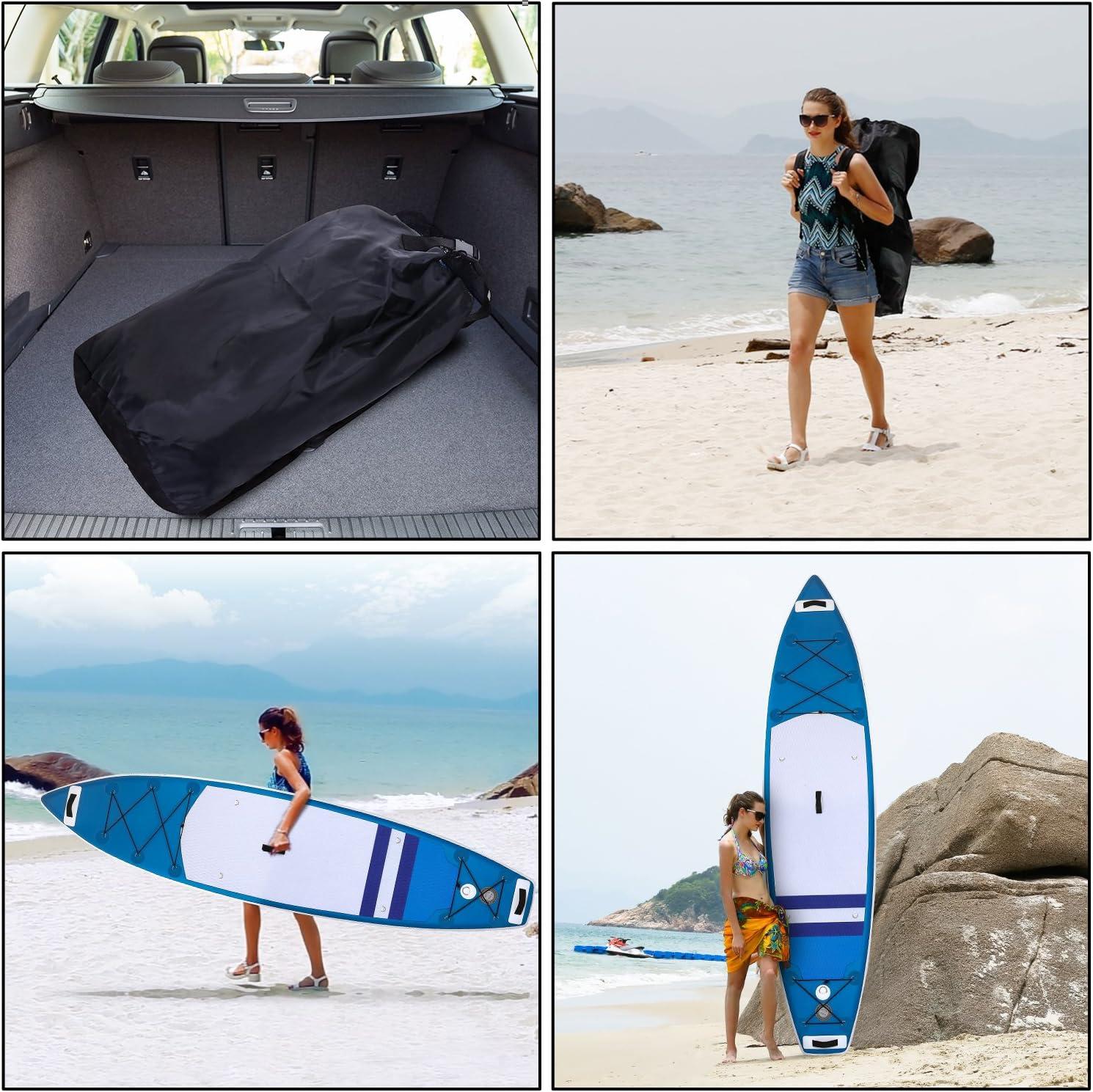 Funda Plegable Kit de Reparaci/ón Mochila Tabla Paddle Surf Hinchable para Principiantes con Bomba de Acci/ón Doble