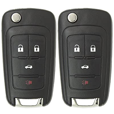 Keyless2Go New Keyless Remote 4 Button Flip Car Key Fob for Equinox Verano Sonic and Other Vehicles That Use FCC OHT01060512 (2 Pack): Automotive