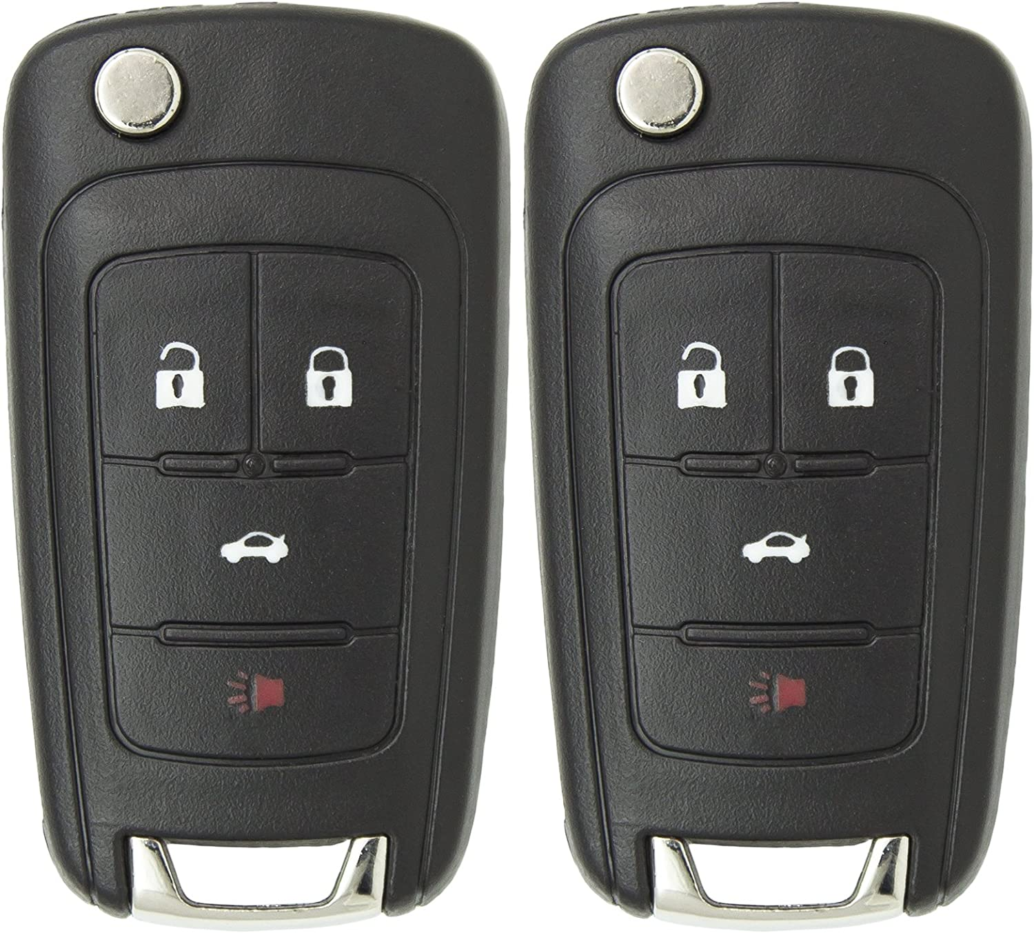 Keyless2Go New Keyless Remote 4 Button Flip Car Key Fob for Equinox Verano Sonic and Other Vehicles That Use FCC OHT01060512 2 Pack