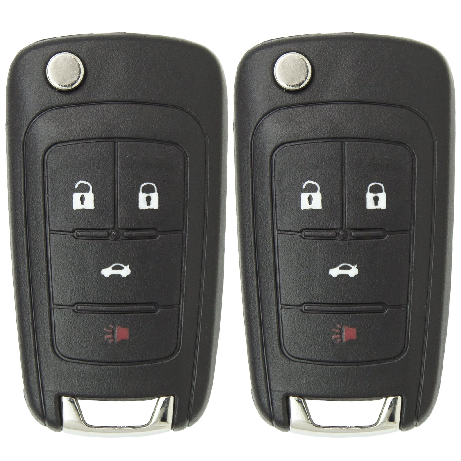 Keyless2Go New Keyless Remote 4 Button Flip Car Key Fob for Equinox Verano Sonic and Other Vehicles That Use FCC OHT01060512 (2 Pack) by Keyless2Go