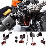 UltimateAddons Support de moto d'alimentation 5V 2A 2ports USB double et prise allume-cigare Support pour guidon