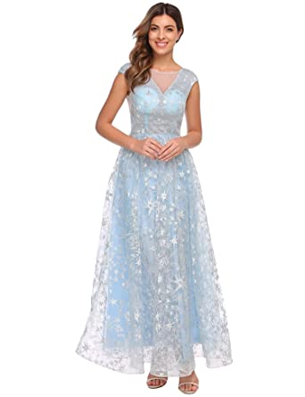 ANGVNS Women\'s O Neck Cap Sleeve See Through Back Star Tulle Swing ...