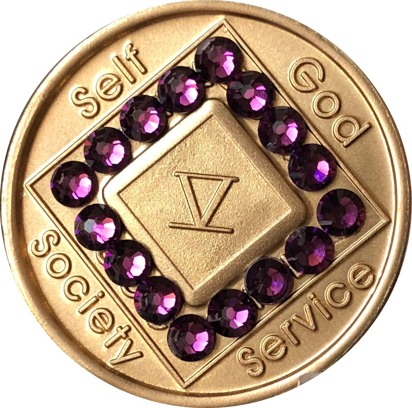 5 Year NA Medallion Bronze Purple Swarovski Crystal Chip