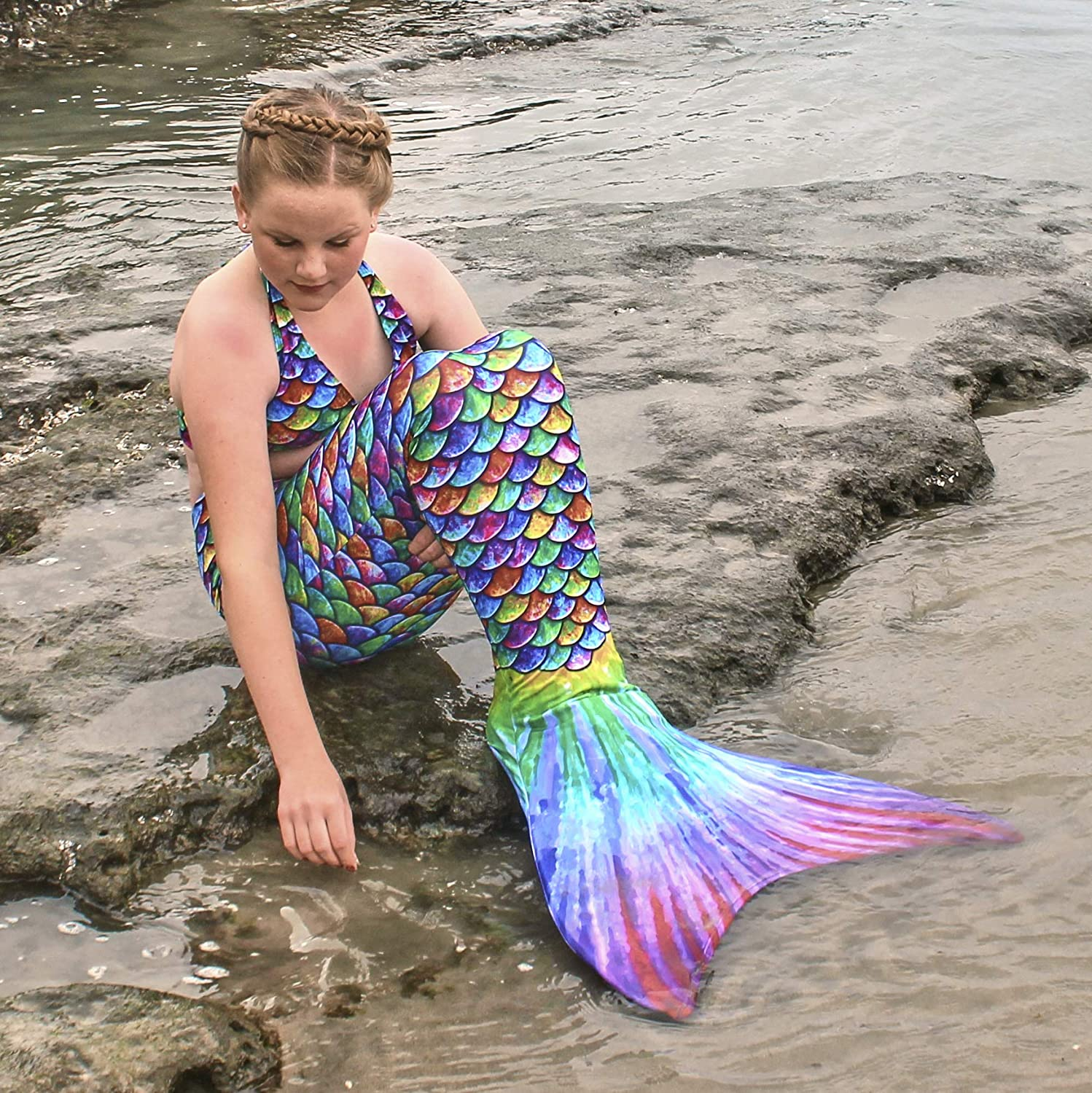 No Monofin Mermaid Tail for Swimming Adult Sizes with MER-Shield Tip Protection