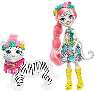 Enchantimals Tadley Tiger Doll & Kitty Animal Friend Figure, 6-inch Small Doll, with Long Pink Hair, Flower Headpiece and Animal Ears, Removable Skirt, Headpiece, and Shoes, Gift for 3 to 8 Year Olds
