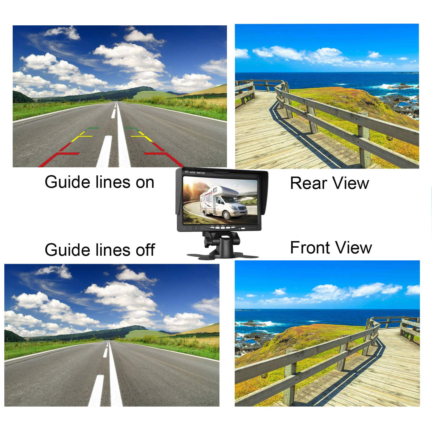 Emmako Backup Camera For Car 150 Degree Viewing Angle Without Color Difference Car Camera Reverse//Front View Switchable ON//OFF Guide Lines Width and Length Adjustable IP68 Waterproof 4350452336