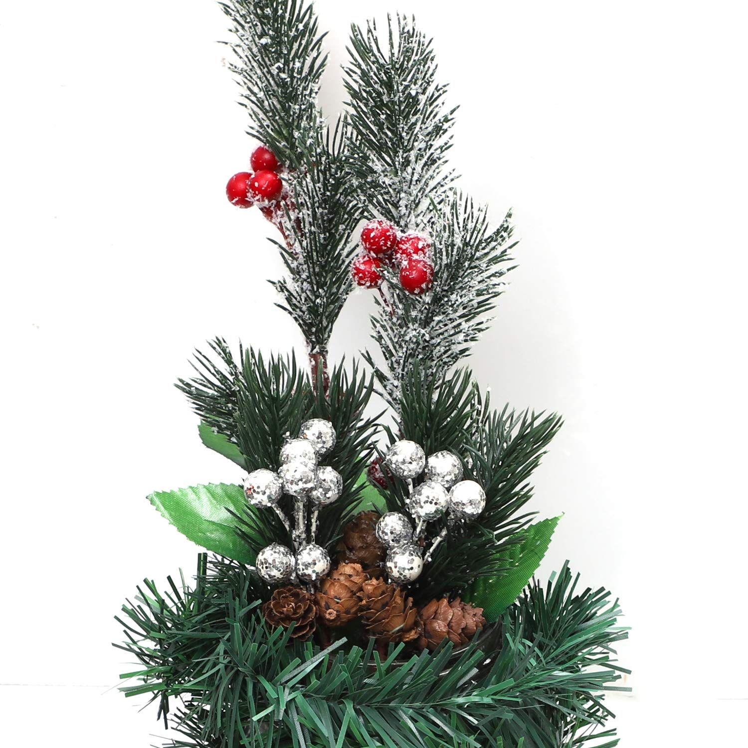 Cooraby 12 Pieces White Christmas Berry Stems Pine Artificial Pine Cones Branch White Holly Spray for Winter Decoration Christmas Crafts Party DIY Crafts