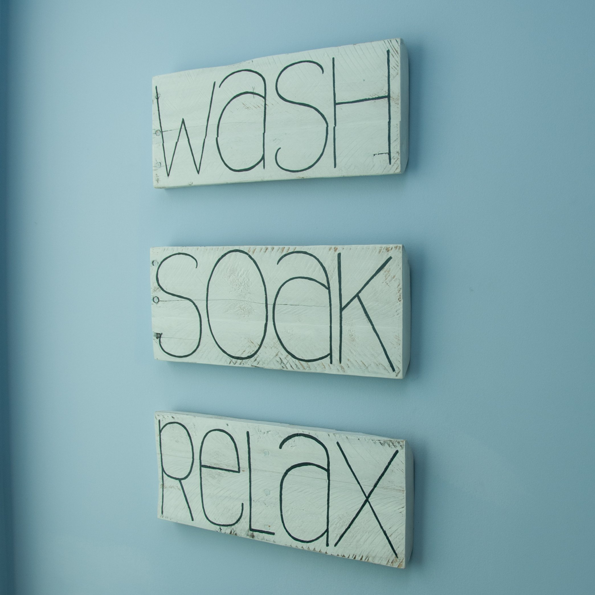 SET OF THREE Wash Soak Relax Bathroom decor Bathroom signs Shabby chic decor Wood bathroom decor Spa decor Spa gifts Bathroom wall decor Bathroom art