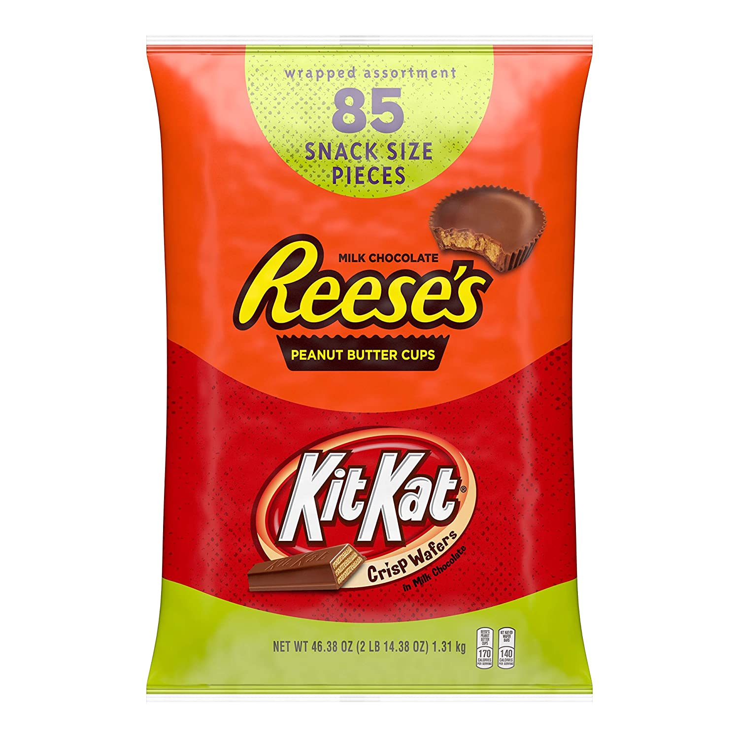 REESE'S and KIT KAT Assorted Milk Chocolate Snack Size Candy, Easter, 46.38 oz Bulk Variety Bag (85 Pieces)