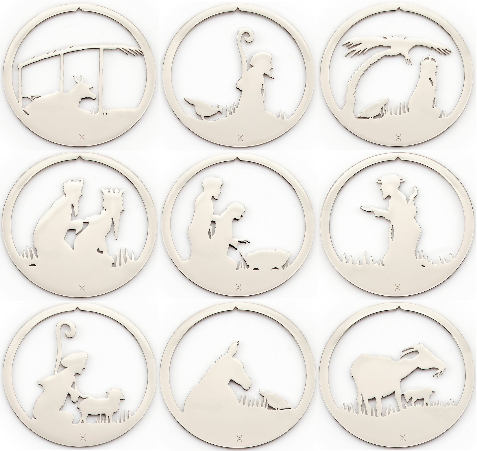 Nativity Boxed Ornament Set by Valerie Atkisson, Polished Nickel, 9 Pieces by Valerie Atkisson