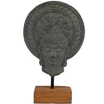 Deko Buddha Kopf Auf Holz Sockel 34cm Grau | Buddha Figur Für Wohnung    Statue