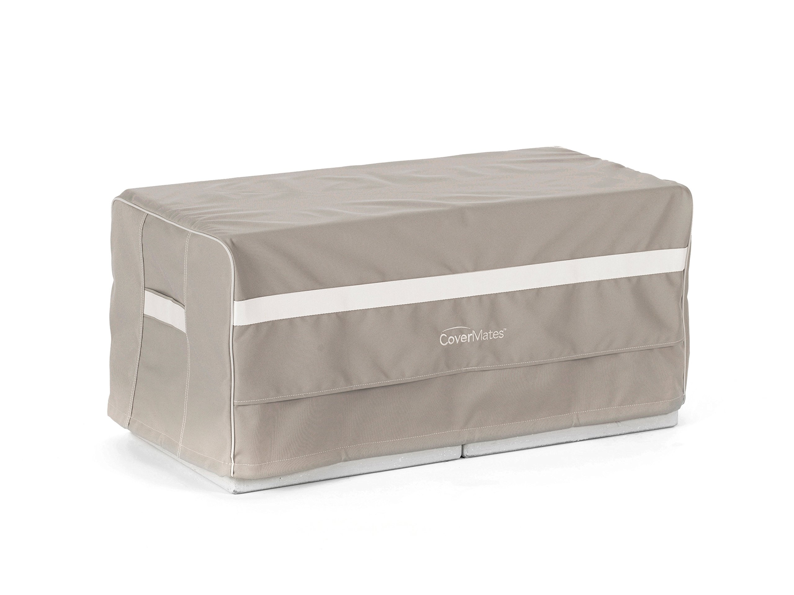 Covermates - Rectangular Ottoman Cover - 32W x 24D x 18H - Prestige - 900D Polyester - PVC Free Backing - Reinforced Handles - 7 YR Warranty - Weather Resistant - Clay by Covermates