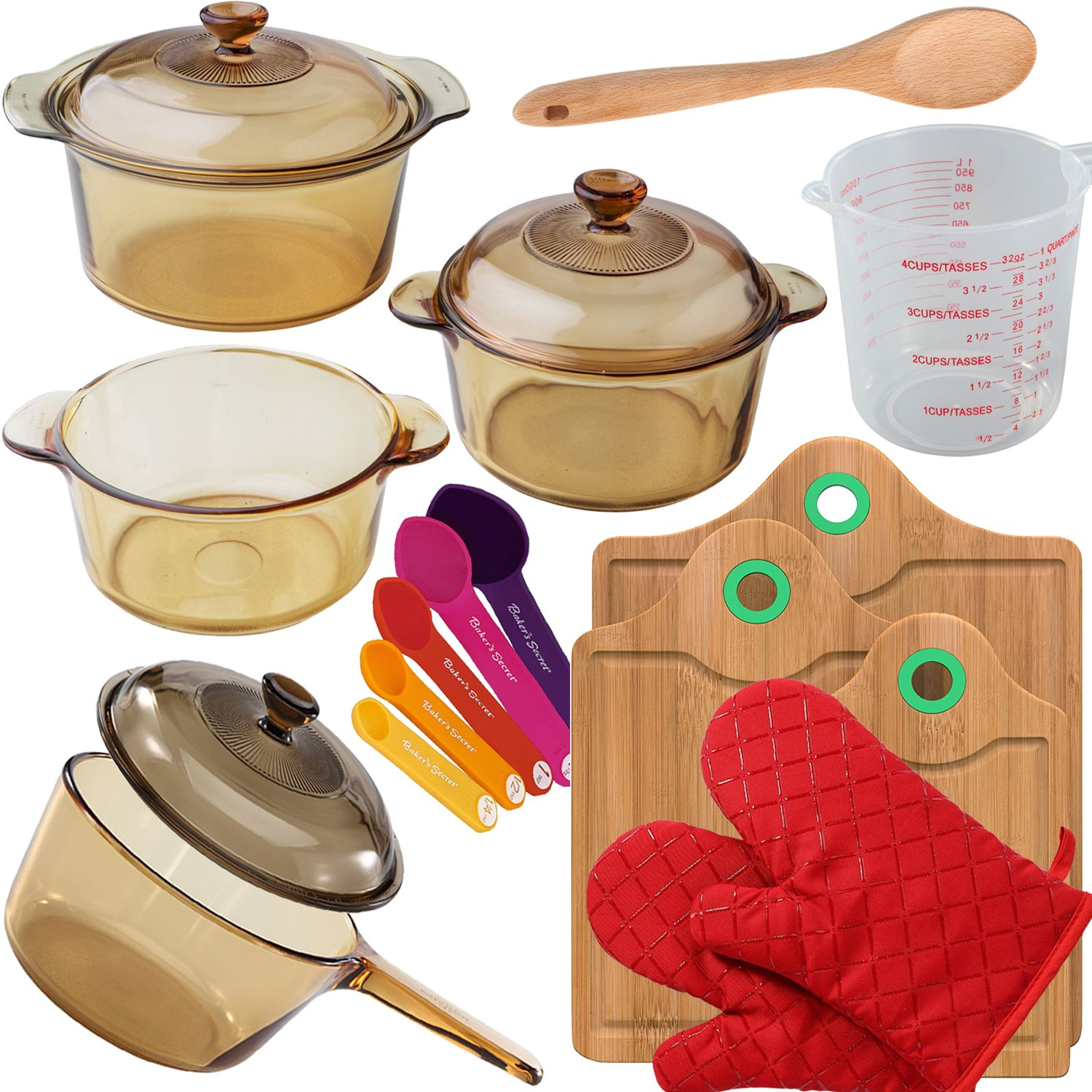 """VISIONS 7-pc Glass Cookware Set, 3-pc Bamboo Cutting Board Set, 1 Pair Cooking Gloves And Baker's Secret Set: Measuring Cup, 12"""" Wood Spoon And 5-pc Measuring Spoon Set"""