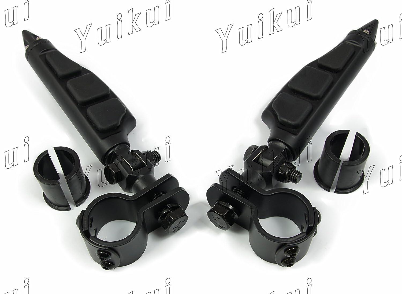 YUIKUI RACING オートバイ汎用 1-1/4インチ(32mm)/1インチ(25.4mm)エンジンガードのパイプ径に対応 ハイウェイフットペグ タンデムペグ ステップ HARLEY DAVIDSON等適用  マットブラック B07PX11KQT