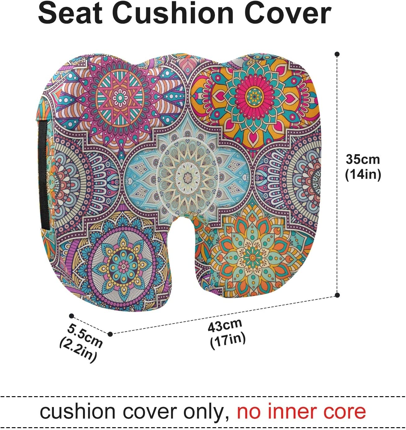 xigua Mandala Memory Foam Seat Cushion Cover Comfort Breathable Seat Cushion Protector for Car Seat Office Chair