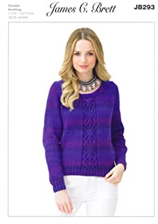 f63ce92994164 James C Brett JB293 Knitting Pattern Womens Round Neck Cabled Sweater in  James C.…