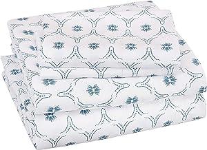 AmazonBasics Soft Microfiber Sheet Set with Elastic Pockets - Queen, Teal Blossom