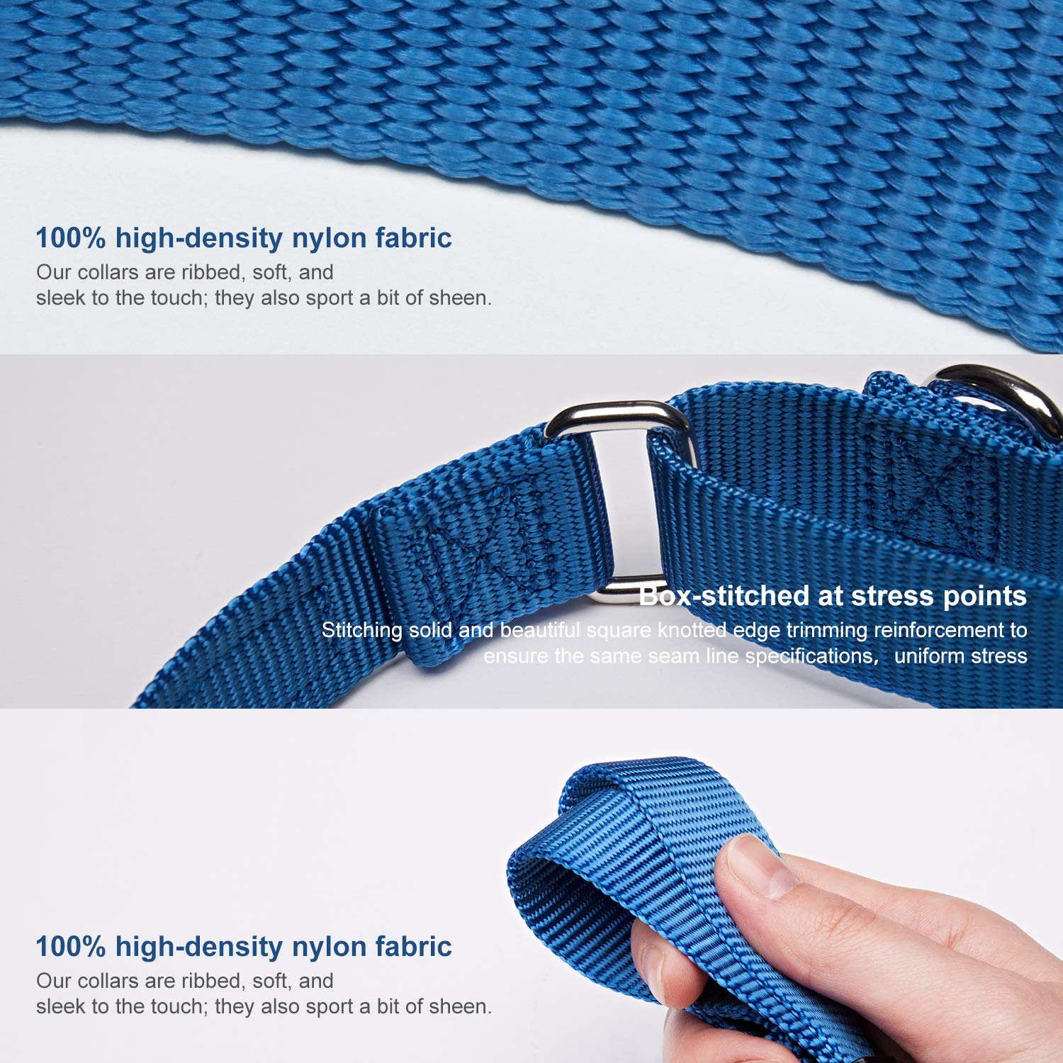 Large Neck 16-25 Dazzber Martingale Collars for Dogs Sky Blue Dog Collar No Pull No Escape for Walking Training