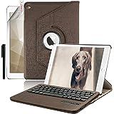 Ipad 4 Ipad 3 Ipad 2 Bluetooth Tastatur Hülle, Boriyuan 360 Grad drehbar Leder Case Schutz Tasche Cover mit Bluetooth Wireless Tastatur (Deutsche QWERTZ) keyboard case für Apple Ipad 4/3/2 (Braun)
