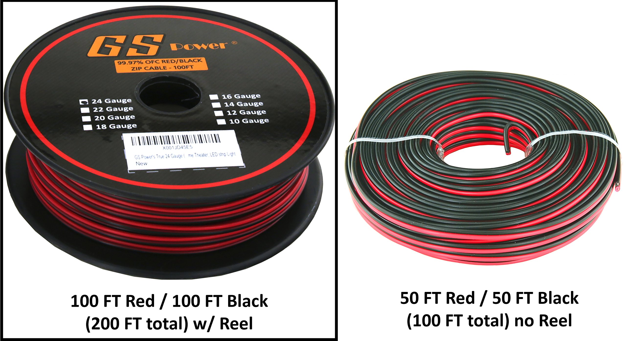 True 24 Gauge (American Wire Ga) 99.97% OFC stranded oxygen free copper, Red / Black 2 Conductor Bonded Zip Cord Power / Speaker Cable for Car Audio, Home Theater, LED Light. Choice of 50 or 100 FT