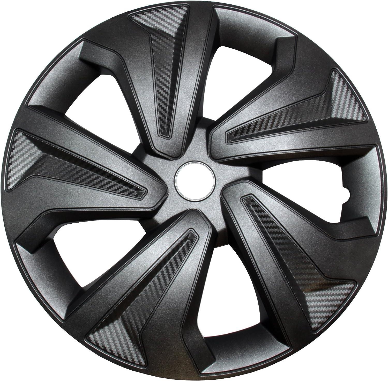 4x Radkappen Carbon Grey Auto Radzierblenden Silber Grau 16 Zoll Auto